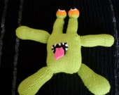 Hand knitted Green Alien Monster Childrens ,Baby toy soft doll. Baby shower gift, Holiday gift, Birthday gift