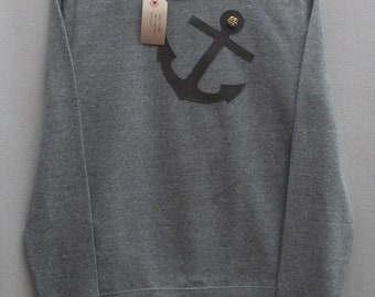 Leather Anchor Jumper Light Grey Heather Lightweight Crew Neck Sweatshirt