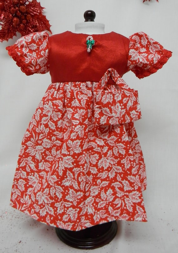 Christmas dress cotton holly print skirt with red satin bodice made