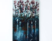 "Day and night. Original oil painting on wood. 7.5""x12"" Art painting, Flowers Plants Night sky"