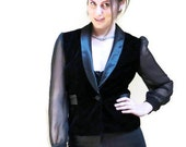 Vintage Black Tuxedo Blazer Jacket Sheer // Small Medium // Free Shipping //