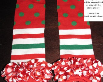 RUFFLED CHRISTMAS baby leg warmers.  Great for babies, toddlers, and young kids