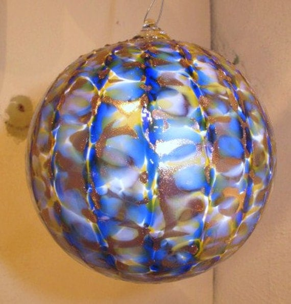 Hand blown Cobalt blue art glass ornament