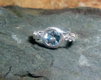 Aquamarine Diamond Gemstone 14K White Gold, Size 7, MARCH Birthstone