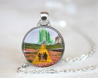 """Wizard of Oz Necklace- Emerald City Wizard of Oz Jewelry, 24"""" chain."""