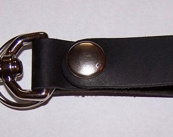 Black Leather Key Fob Snap Hook w Chrome Snap & Key Ring by Darkwear Clothing