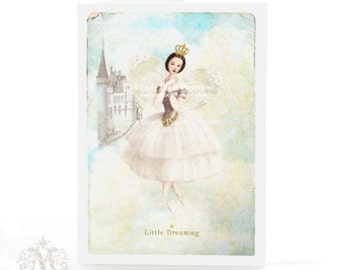 Fairy card, Christmas card, fairy tale, ballerina, dreaming, castle in the clouds, birthday card, blue, white, glitter, holiday card