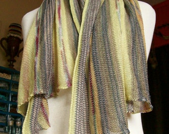 """Scarf Rayon Knit Stripes """"Judy's California"""" Vintage Boho Accessories 1970s"""