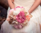 RESERVED Alternative Bridal Bouquet, Fabric Flower Bouquet, Fabric Bouquet, Heirloom Bouquet