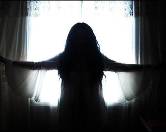 Moonlit Shadows - Semi-Sheer Ivory Georgette Shadowen Blouse by Kambriel - Brand New & Ready to Ship!