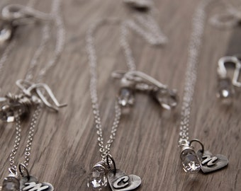 monogram sterling silver heart with your choice of bead or pearl- necklace