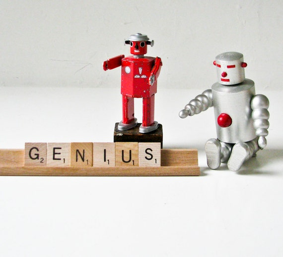 Desk Sign - GENIUS - Wood Scrabble Tiles on  Wood Tray - Graduation Present