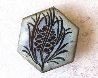 Pine Cone Brooch. Stonewashed Denim Blue on Black Porcelain Hexagon. Light Blue. Sky Blue. Woodland. Pine Tree. Evergreen. Up North. Nature