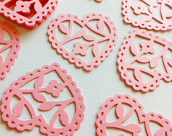 24 PRETTY PINK Scalloped Lace Heart Punch Die Cut Embellishments (also available in Red, White, Baby Blue)