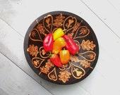 9 3/8 inch wood serving-fruit-salad- bowl-ooak bleeding heart digitalis- mandala -design -wood burning- housewares-dining and entertaining