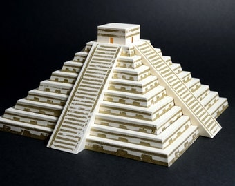 Mayan Pyramid, kit with pre-cut and lino printed parts || paper model of pyramid of Kulkulkan || limestone and gold color