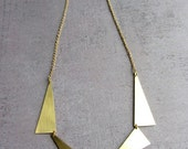 Statement Geometric triangle gold brass long necklace. Gold plated chain.