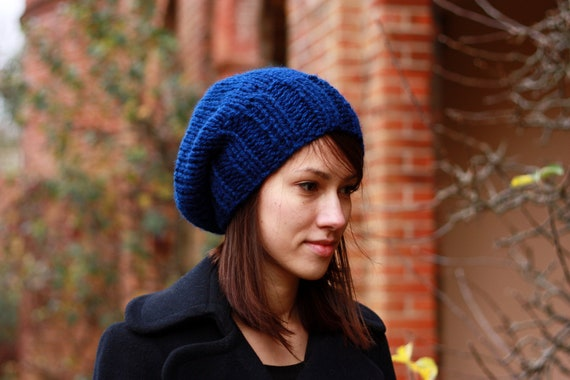Knit Hat Slouchy Hat for Women Chunky Slouchy Beanie Hat Navy Blue