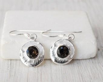 Smoky Quartz Earrings, Small Silver Brown Quartz Dangle Earrings, Minimal Round Gemstone Earrings, Smoky Quartz Jewelry, Gift Earrings