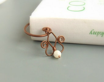 Floral bookmark, botanical gift, shell copper handmade bookmark, wire bookmark