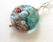 Ocean jewelry, Aqua blue wave necklace, Beach jewelry, Lampwork necklace, ocean beach necklace, glass bead pendant necklace, sea jewelry