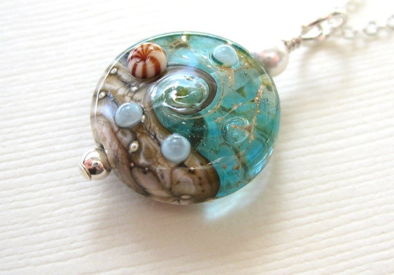 Ocean Necklace Aqua Blue Beach Jewelry Ocean By
