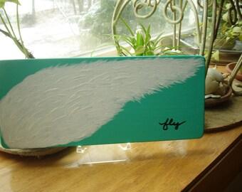 FLY, Wings Painting on Wood, Desk top Art, WINGS, Book Shelf Art, Original Art, Wood Block Art, FLY, Inspirational Art, Free shipping