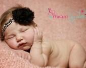 Baby headband, Leopard shabby chic flower headband, baby headbands, newborn headbands, baby girl headbands