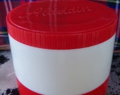 Aladdin Thermos Vintage Creamy White with RED Freezer Lid
