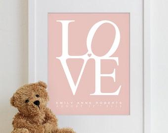 Baby Nursery Print Kids Art Wall Decor Shower Gift LOVE Poster