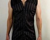 Mens futuristic cyber punk sleeveless dress shirt in black