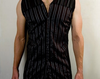 Mens futuristic cyber punk sleeveless dress shirt in black