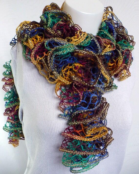 Knitting Patterns For Girls Cardigans : Hand Knit Ruffle Scarf curly knit scarf gypsy by 9ElizabethStreet