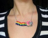 Nyan Cat Necklace, Geek, Internet Meme, Polymer Clay