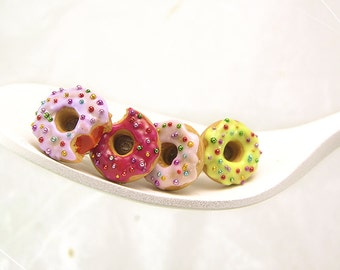Donut Earrings, Tiny Pastel Studs, Miniature Food Jewelry, Polymer Clay Food Earrings, Kawaii Jewelry, Mini Donut Studs, Donut Food Jewelry