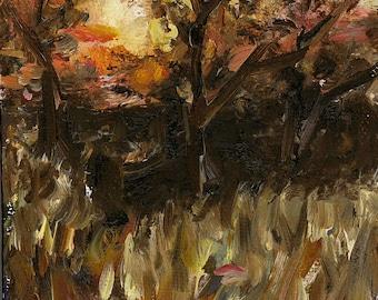"Sunset, Late Fall -Oil Landscape Painting 4x6"" Original Artwork, nature art, impressionist"
