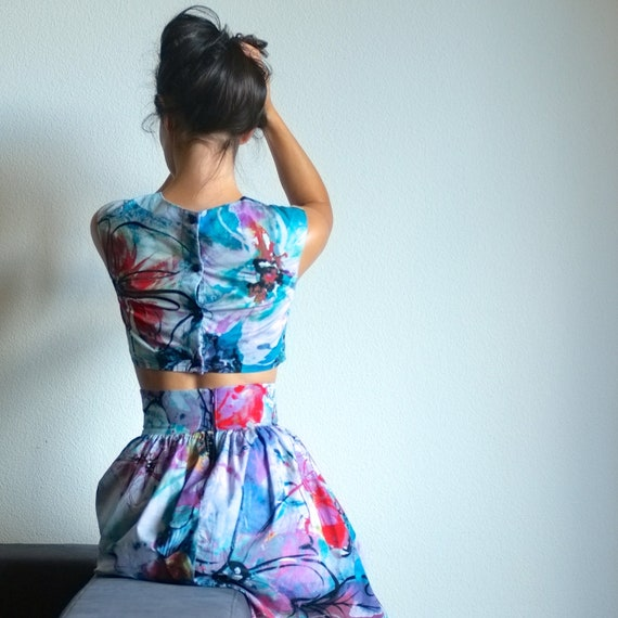 SALE - floral and butterfly print two-piece outfit - corolla skirt and cropped fitted top