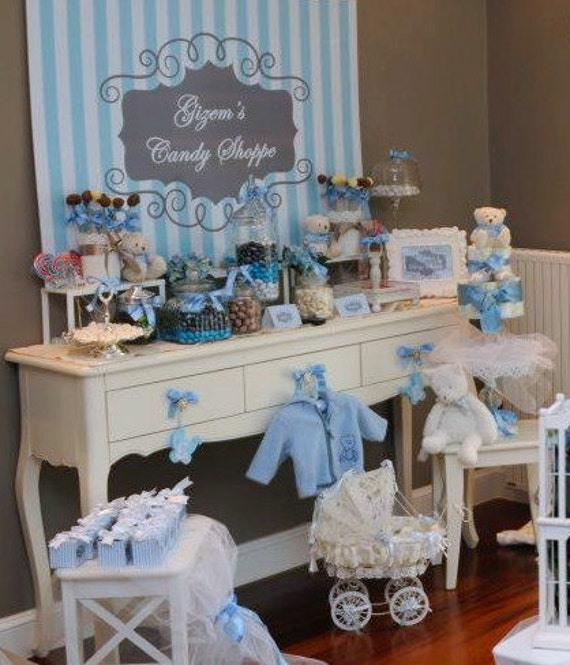 Baby Blue Bathroom Set: Items Similar To Blue And Gray Striped Baby Boy Baby