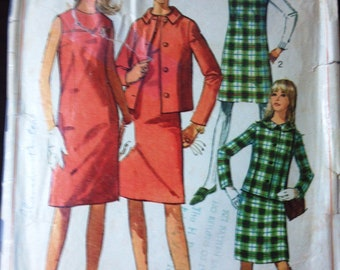 Simplicity 7236 Pattern for Dress, Jumper, Jacket, Size 12, From 1967, Vintage Pattern, Home Sewing Pattern, 1967 Fashion Sewing