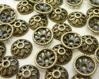 10mm Antique Brass Base Metal Spacer Bead Caps - Qty 20 (G196)