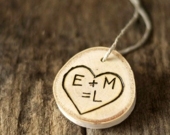 Personalized Heart Tree Branch Ornament - Rustic - Wood Burned - Family Initials - Valentines Day - Baby Shower Gift - Mothers Day