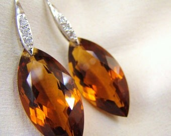 Sale Madeira Citrine Earrings Pave Sterling Silver