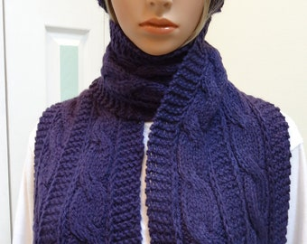 KNITTED HAT & SCARF Set: Purple/Eggplant Hat and scarf set, designer cable stitch pattern, worsted weight yarn