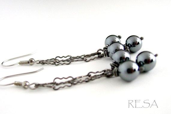 Hematite Chandelier Earrings Antiqued Silver