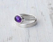 Amethyst Ring Sterling Silver Double Band Natural Purple Amethyst Gemstone Stacking Ring February Birthstone Statement Ring Amethyst Jewelry