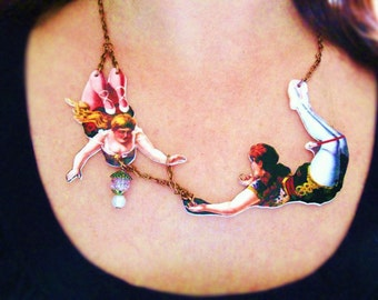 Statement Necklace Gift Wife Girlfriend Jewelry Necklace Circus Acrobats in Love Best Seller Geekery
