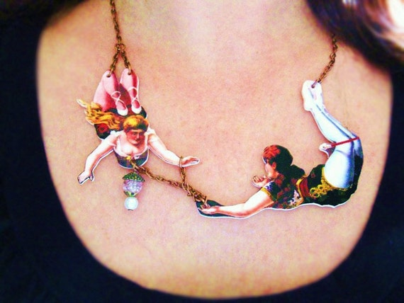 Statement Valentine's Day Gift Wife Girlfriend Jewelry Necklace Circus Acrobats in Love Best Seller Geekery