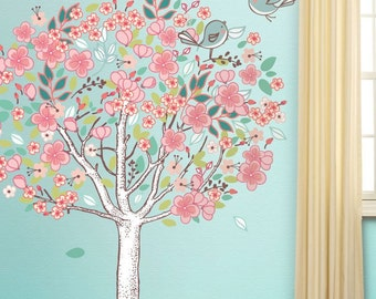 Spring Love Flowering Tree Wall Sticker Decal (stk1017)