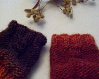 FLAME -Wrist warmers Cuffs Wristlets, orange brown Womens Girsl Boys warm soft cozy pure wool accessories Hand knitted, Handmade in FINLAND