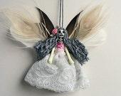Holiday decor - fairy ornament, handmade Christmas ornament, OOAK fairy peg doll